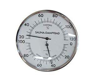 Szauna és gőzkabin hőmérő-páramérő, króm, 162mm átmérő